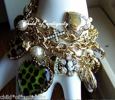 Betsey Johnson GREEN LEOPARD Cameo Pearl Cross Locket Horseshoe Bow Ht Bracelet