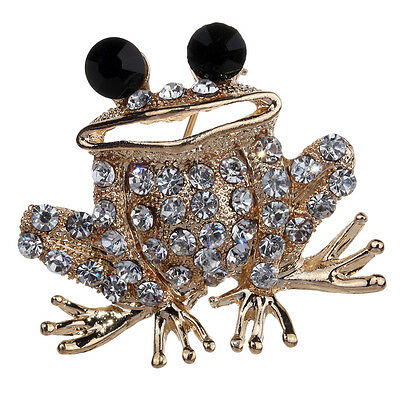 Retro Gold Plated Clear Crystal Brooch Pin Black Eyes Toad Party Jewelry Gift