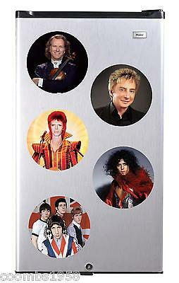 Retro Music Acts High Gloss Round Fridge Magnet