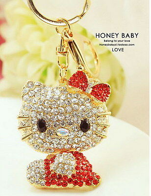 Crystal Cute KeyChain Ring Wallet Purse Charm--Hello Kitty red