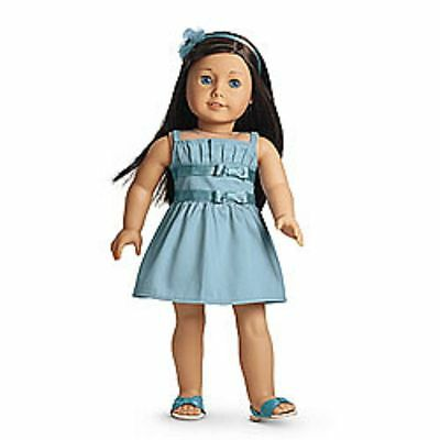 """New American Girl Doll DOUBLE BOW DRESS Outfit + Charm~For 18"""" Doll"""