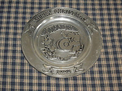 1999 Wilton Armetale Pewter Plate Merry Christmas Mouse & Elephant Instrument
