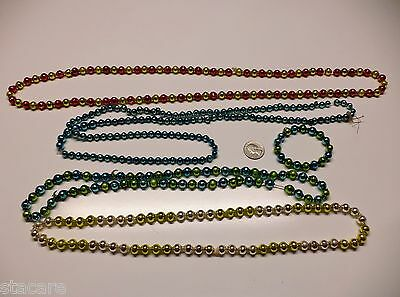 VINTAGE MERCURY GLASS BEAD LOTS GARLAND FOR CHRISTMAS FEATHER TREE MULTI COLOR