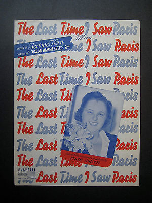 The Last Time I Saw Paris by Kate Smith sheet music Oscar Hammerstein
