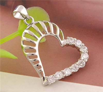 1pc 925 Sterling Silver White Cubic Zirconia Heart Lady's Shiny Pendant