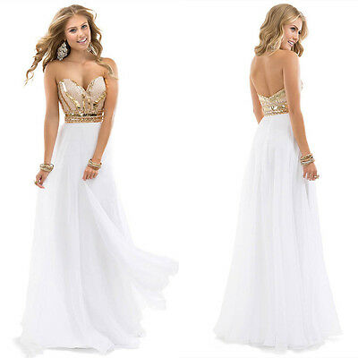 White Gold Bead Prom Ball Formal Evening Dresses Stock Size 2 4 6 8 10 12 14 16