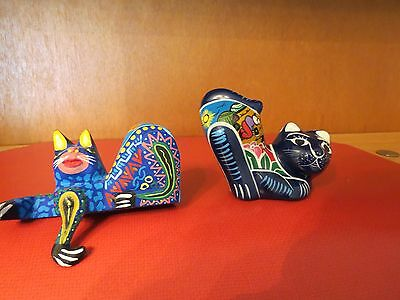 Pair of Handpainted Cats.  Wood and Pottery.