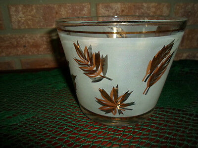 RETRO LIBBEY BAR WARE ICE BUCKET FROSTED AUTUMN LEAF GOLDEN  FOLIAGE THICK GLASS