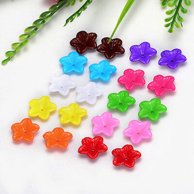 Free Shipping 18mm 30pcs FROSTED  Mixed color ACRYLIC PLASTIC FLOWER BEADS Y114