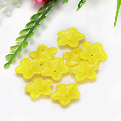Free Shipping 18mm 30pcs FROSTED  Yellow Color ACRYLIC PLASTIC FLOWER BEADS Y112
