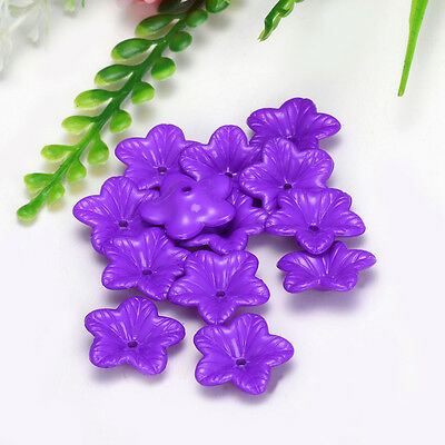 Free Shipping 18mm 30pcs FROSTED Purple Color ACRYLIC PLASTIC FLOWER BEADS Y110
