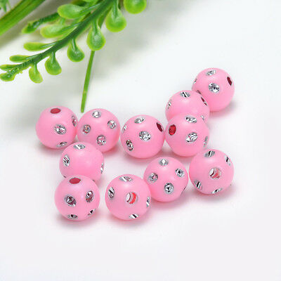 """Free shipping 10mm (3/8 """") Dia 30PCs Acrylic Spacer Beads Single Color Round Y42"""