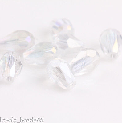 100pcs Faceted Glass Crystal Charms Findings Water Drop Spacer Loose Beads 6X4mm