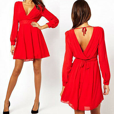 Sexy V Neck Backless Chiffon Long Sleeve Cocktail Party Evening Women Mini Dress