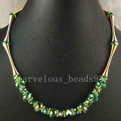 New Fashion AB Olive Drab Crystal Faceted Beads Gem Necklace G5490