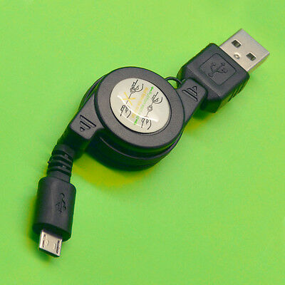 1pc Micro USB Retractable to USB 2.0 Sync Data Charging Cable Cord Black
