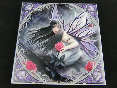"Anne Stokes ""Rose Fairy"" Ceramic Art Tile Gothic Fantasy"