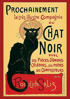 A1 LARGE The Chat Noir QUALITY CANVAS Art Print Vintage Cat  Steinlen