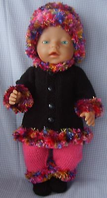 Hand Knitted Winter Set Doll Clothes Outfit Hand Made for 16-17 inch Dolls