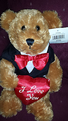 TEDDY BEAR w/ Magnet to hold your Card or Gift! w/ Bow Tie, I Love You Heart NEW