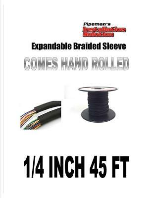 "1/4"" 45Ft Braided Expandable Sleeving Tech Flex Harness Loom  Wire Cover Black"