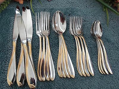 Oneida Stainless USA 18/8 GOLD ACCENT CAMBER SCROLL 20pcs 4 Place Settings EXCEL