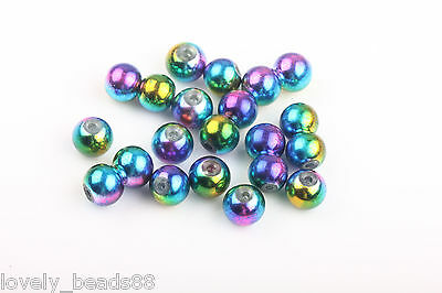 100Pcs Blue & Green & Rose Three Color Mixed Round Glass Spacer Charm Beads 6mm