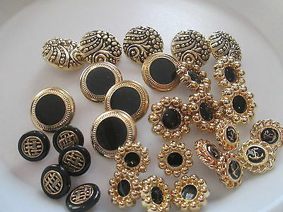 LOT OF 30 ASSORTED GOLD & BLACK COLOR SHANK BUTTONS, NEW, #2