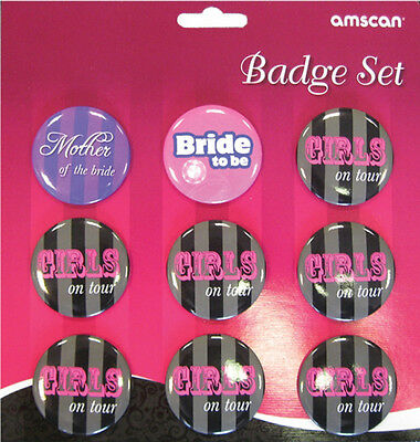 9 x Hen Night badges Girls on Tour HEN Night Party Bridal Shower Badges FREE P&P