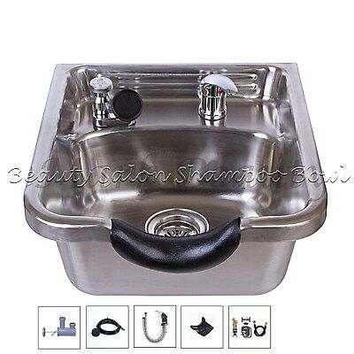 Beauty Stainless Steel Shampoo Bowl Shampoo Sink Barber Salon Brushed TLC-1167