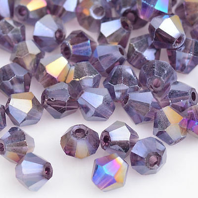 100pcs purple ab exquisite Glass Crystal 4mm #5301 Bicone Beads loose beads @6