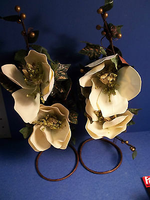 PARTYLITE GILDED MAGNOLIA SPRAY RETIRED - SET OF 2 NIB!
