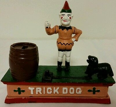 VTG Mechanical Cast Iron Trick Dog Coin Bank w/Clown And Puppy (No Reserve)