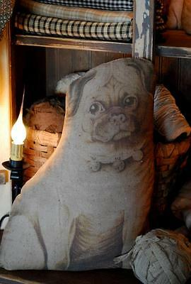 primitive antique pillow old early pug printed vintage toy doll dog stuffed