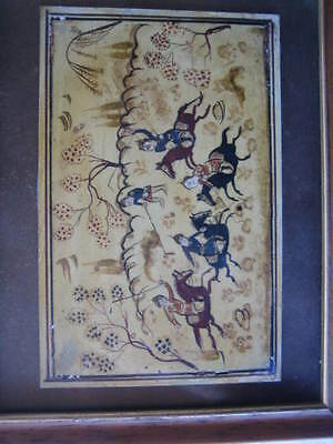 Rare Antique Islamic/Middle Eastern Miniature Painting of Horsemen
