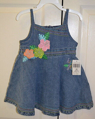 NWT BABY GUESS 2-Pc Denim Jean Ebroidered Dress Infant/Girls Size 24 Mo- Cute!