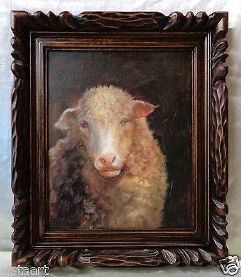 """Oil Painting on Canvas """"Sheep Portrait"""" w/ Nice Wood Carved Vintage Frame 19x22"""""""