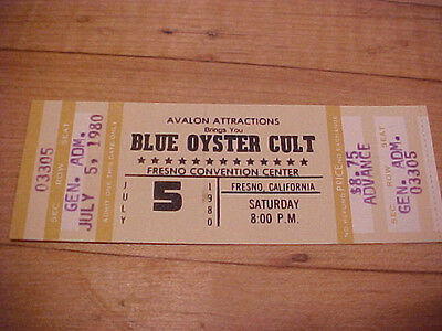 Blue Oyster Cult 7-5-1980 Unused Full Concert Ticket