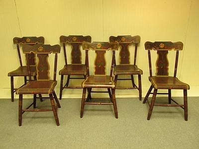 Antique Set of 6 Paint Decorated Plank Seat Chairs Nice!