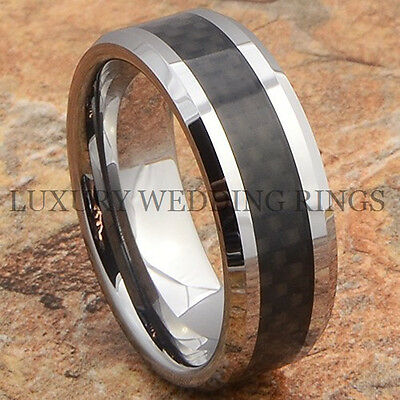 8mm Tungsten Carbide Ring Mens Wedding Band Black Carbon Fiber Inlay Size 6-13