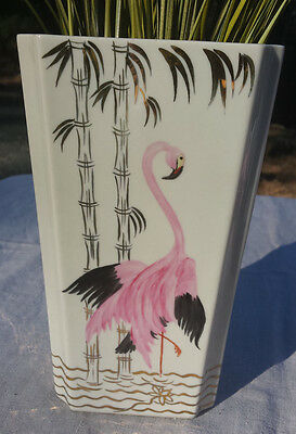 Flamingo and bamboo vase vintage hand painted kitsch retro art deco Mid Century