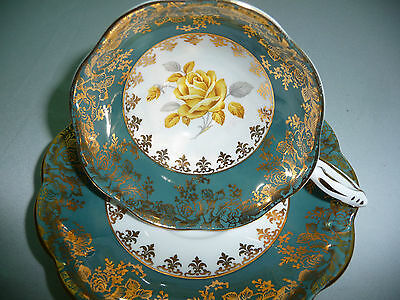 Royal Standard Floral Blue Yellow Fine China Tea Cup and Saucer Set Vintage