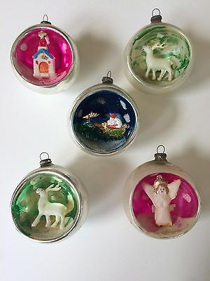 Vintage Japan Indent Diorama Christmas Ornaments Mercury Glass – Glitter / Mica