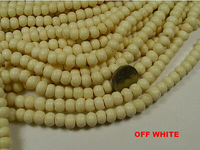 10 STRANDS 10MM X 7MM ROUND NATURAL OFF WHITE BONE BEADS LOT (032720153)