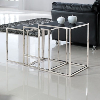 Quadra Nesting Tables in Stainless Steel with Glass Tops, from Brookstone