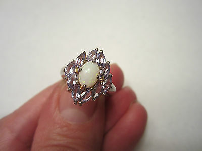 STERLING SILVER OPAL AND TANZANITE CLUSTER RING SIZE 4-3/4 NEW