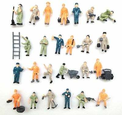 10 Pcs Assorted 1:87 Well Painted Figures Workers HO Scale 20mm