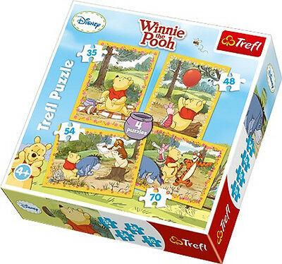 Puzzle Pappe Trefl 4 in 1 35 + 48 + 54 + 70 Teile Winnie Puuh 34062