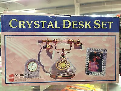 Crystal Desk Set, ( crystal Phone, Clock & Frame new in box free shipping 3 pcs