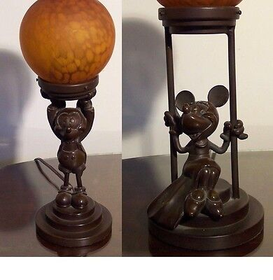 A Pair of Disney Vintage Mickey and Minnie Mouse Heavy Bronze Metal Lamps